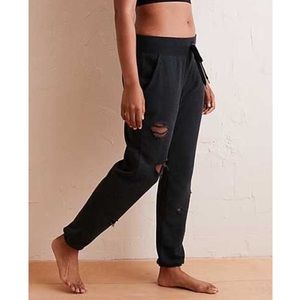 Aerie Charcoal Distressed City Jogger Sweatpants